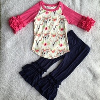 2019 girls outfits wholesale floral bull skull boutique outfits for baby girls