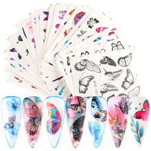 YUNYA 30Pcs Mixed Butterflies Nail Art Sticker Set Water Proof