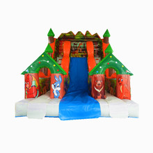 Popular patio comercial de PVC de 0,55mm de los niños casa inflable gorila Animal gigante escalera deslizante