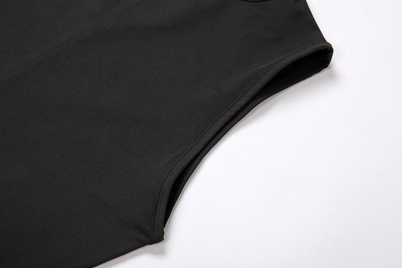 Grosir Pakaian Wanita Mode Baru Jumpsuit Bodycon Celana Panjang Hitam Putih Kebugaran Yoga Tanpa Lengan 2020