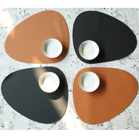 Nordic PVC Leather Chic Tableware Pad Curve Placemat Waterproof Table Mat Bowl Mat Washable Washable Irregular Place Mat