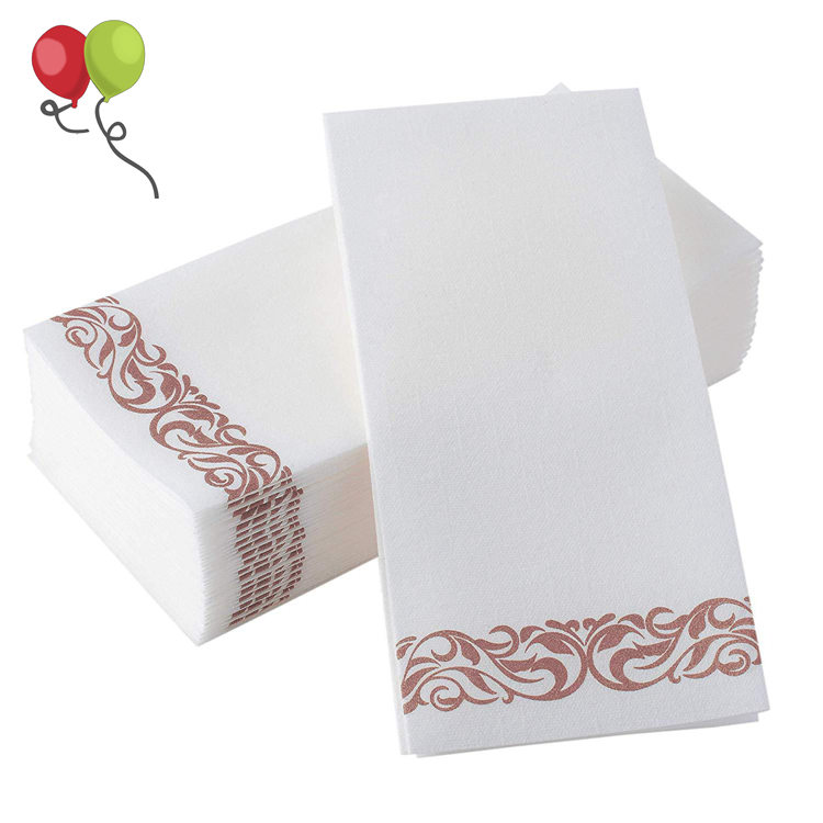 50 Disposable Durable Decorative Bathroom Hand Napkins - Good for Kitchen, Parties, Weddings, Dinners or Events Rose Gold KPT374