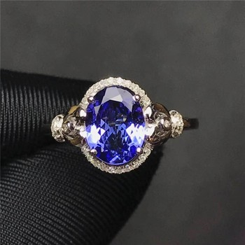 minimalist elegant gemstone diamond jewelry gift 18k gold2.12ct natural blue tanzanite ring