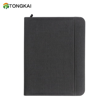 Hot Selling A4 Business Zipper Multipurpose  Portfolio Folder With 6000 Mah Power Bank