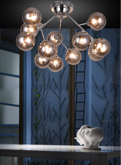 تشونغشان led ضوء السقف الحديثة بسيطة زجاج رمادي الكرة الإبداعية المنزل فندق شحن مول الديكور مصباح السقف