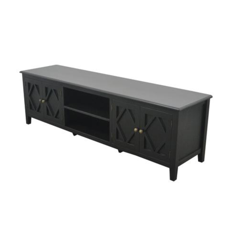 High Quality Black Solid Wood TV Stand, TV Stands & Entertainment Centers