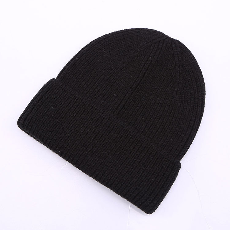 Knitted hat female cashmere wool blended knitted hat men and women solid color Baotou cold curling wool hat