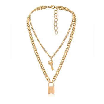 Fashion Simple Gold Alloy Love Key Lock Mulit Layer Pendant Necklace