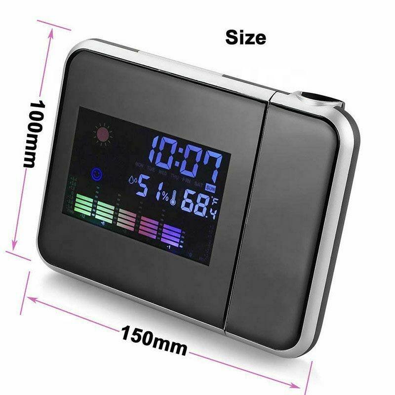 KH-CL002 Colorful LCD Smart Electronic Desktop Table Desk LED Laser Ceiling Digital Projection Alarm Clock with Weather Station