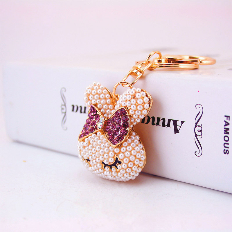 YS530 Trade Assurance Fashion New Design Cute Crystal Bowknot Rabbit Studded with Pearl Keychain Cartoon Animal Key Chain