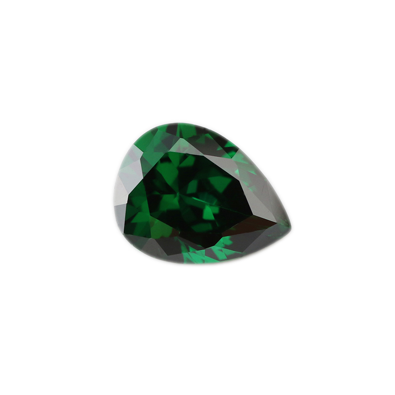 Jewelry Making Stone <strong>Zirconia</strong> 5A Quality CZ 6*9mm Emerald Green Color Loose <strong>Pear</strong> Cubic <strong>Zirconia</strong> Stone