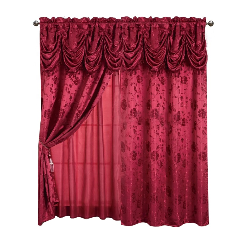 Wholesale <strong>curtain</strong> living room ready made American style luxury jacquard valance <strong>curtain</strong> designs hotel cheap <strong>curtain</strong> <strong>for</strong> windows