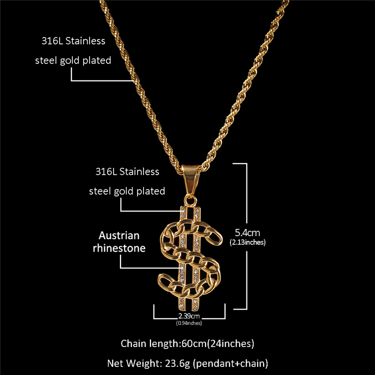 Hips Hops Men's Gold Plating Inlay Crystal Stainless Steel Cuban Chain US Dollar Sign Pendant Necklace