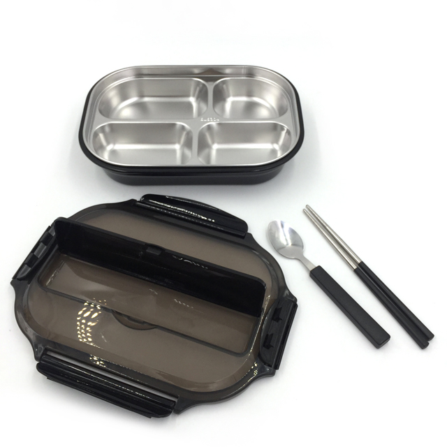Bento Lunch Box with 4 Compartments, Leakproof Lunch Containers with Removable Stainless-Steel Tray