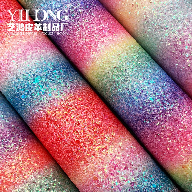 (FA-021)Rainbow Glitter Fabric 1.0 mm Sequins Pu <strong>Leather</strong> for bows shoes and bags