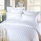 40S 3cm stripe bleached white 100% cotton queen size bed sheet set