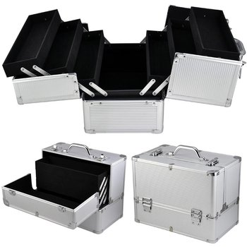 Bright Aluminum Frame Smooth Surface Makeup Train Case Vanity Tool Carry Box