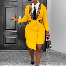 Офисное женское платье-блейзер 3XL в африканском стиле, асимметричное весеннее желтое асимметричное облегающее платье с длинным рукавом раз...(Китай)