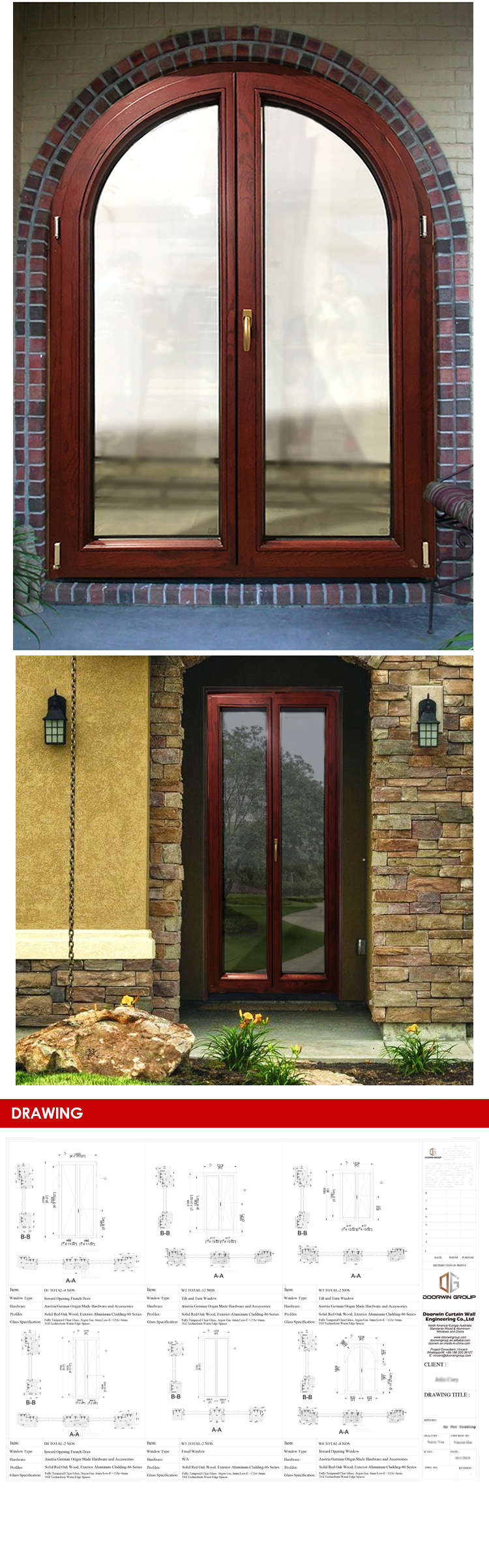 China offer cheap long life eight foot french doors double pane exterior insulated