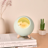 Cute Cat House Atmosphere Light Touch Sensor USB Rechargeable Table Lamp