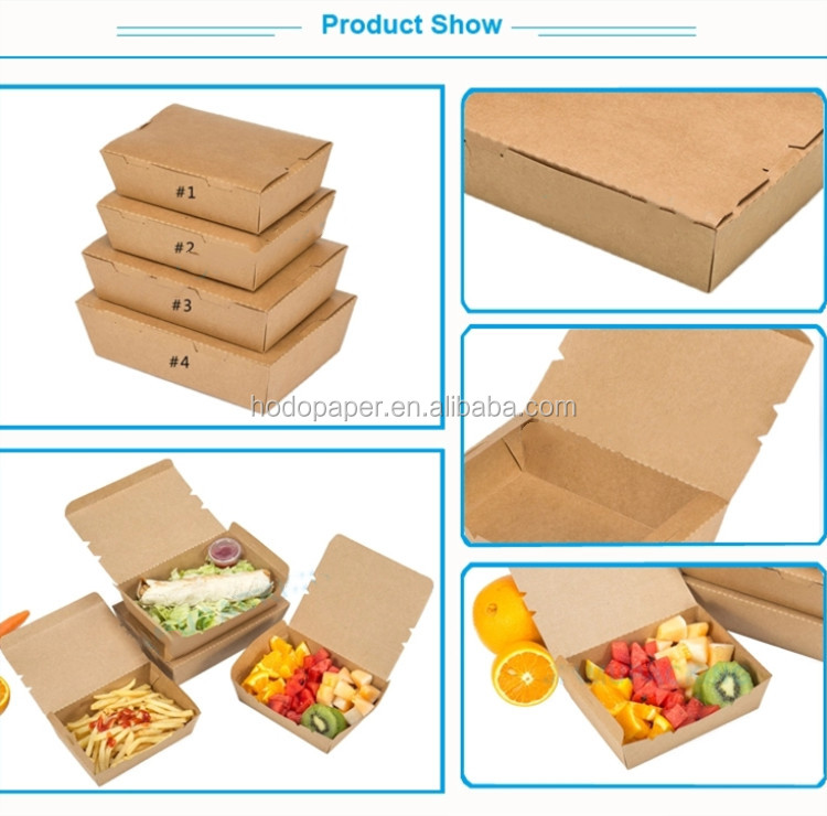 Kraft Paper Biodegradable Takeaway Disposable Food Container