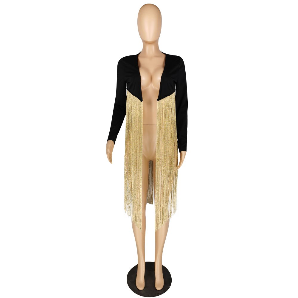 2020 Spring Women's Suit Coat Short Style Gold Wire Tassel Solid Color Long Sleeve 20200420735