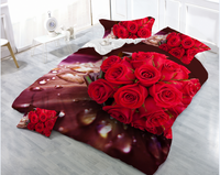 100% polyester brushed fabric 3d flower printed rose design bed sheet fabric