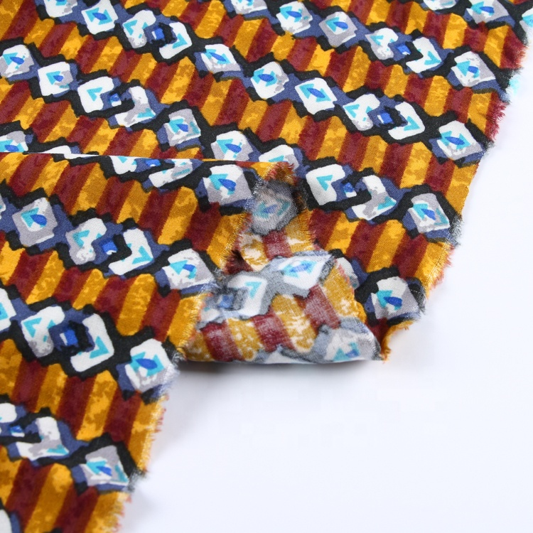 カスタム織布通気性ストレッチビスコース熱帯プリントレーヨン生地のためのドレス