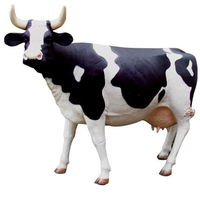 Zoo and park decoration sculpture life size fiberglass animal cow statue