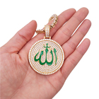 hiphop jewelry brass micro pave cz gold plating enamel muslim allah pendant