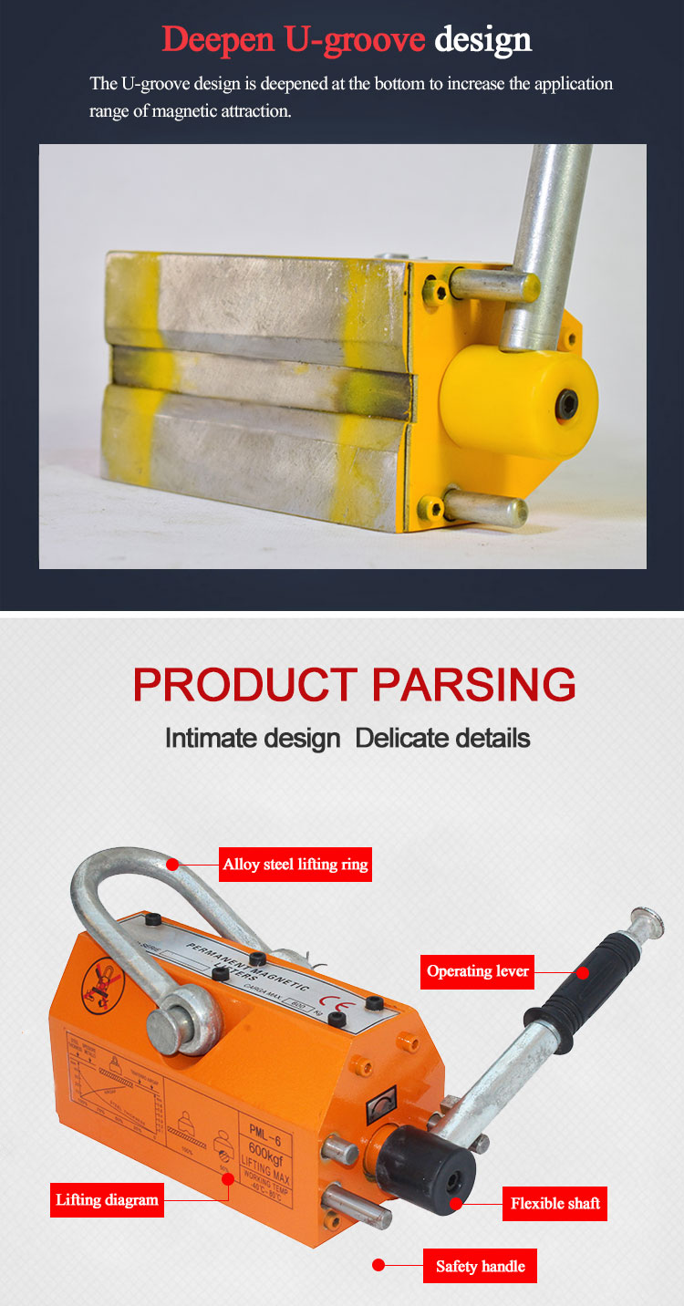 ISO9001 customized 3ton with CE certificate 5ton steel plate handling equipment magnet lifting permanent magnetic lifter
