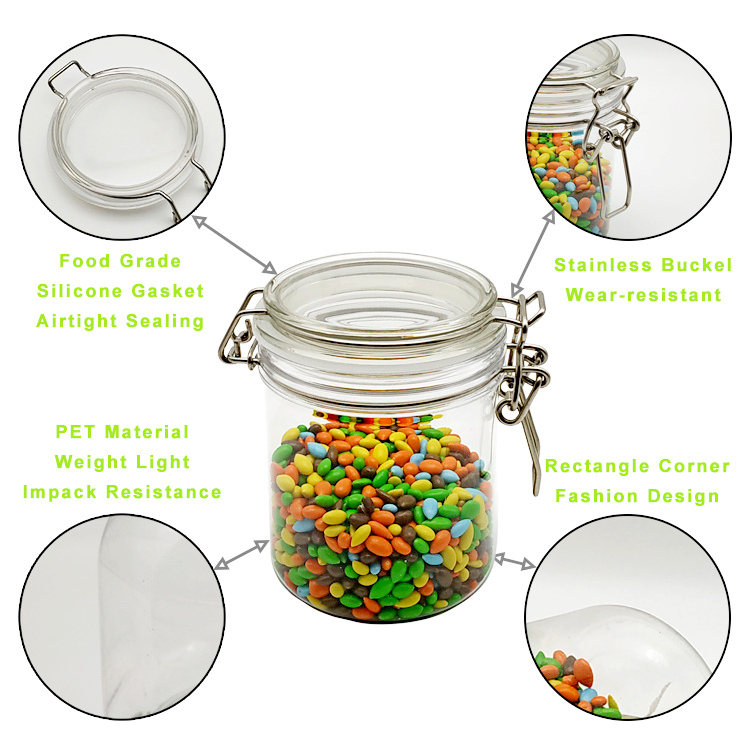 Amazon Top Seller Borosilicate Honey Candy Herb Weed Cookie 500ml Food Storage Glass Jar With Airtight plastic Lid
