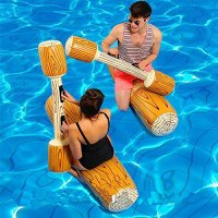 Inflatable Pool Floats Pool Party Play Boat Raft Water Collision Toys Wood Grain Seat Swimming Floating Row for Kids Adult