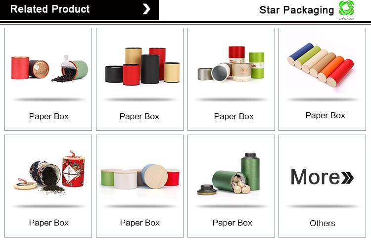 स्टार पैकेजिंग चाय टिन ढक्कन कनस्तर पैकेजिंग गत्ता बॉक्स Cmyk मुद्रण लुढ़का बढ़त कागज सिलेंडर ट्यूब