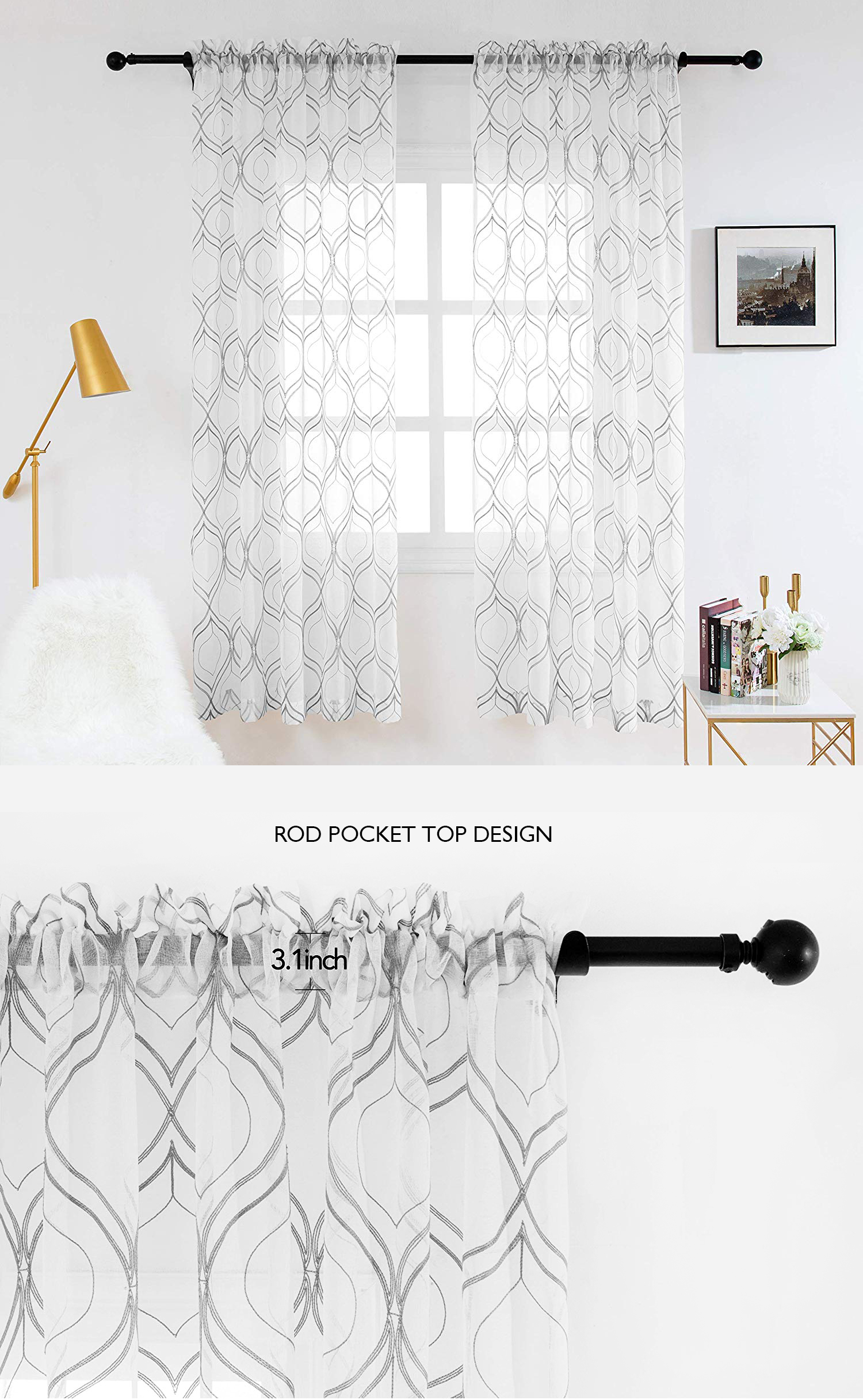 European curtains light filtering embroider dolly clover trellis ready made curtain for living room