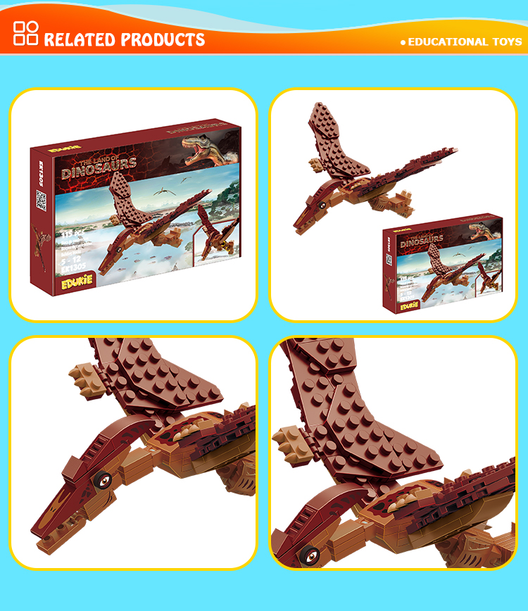 Factory popular diy blocks flying dinosaur model puzzle building bricks toy set for children