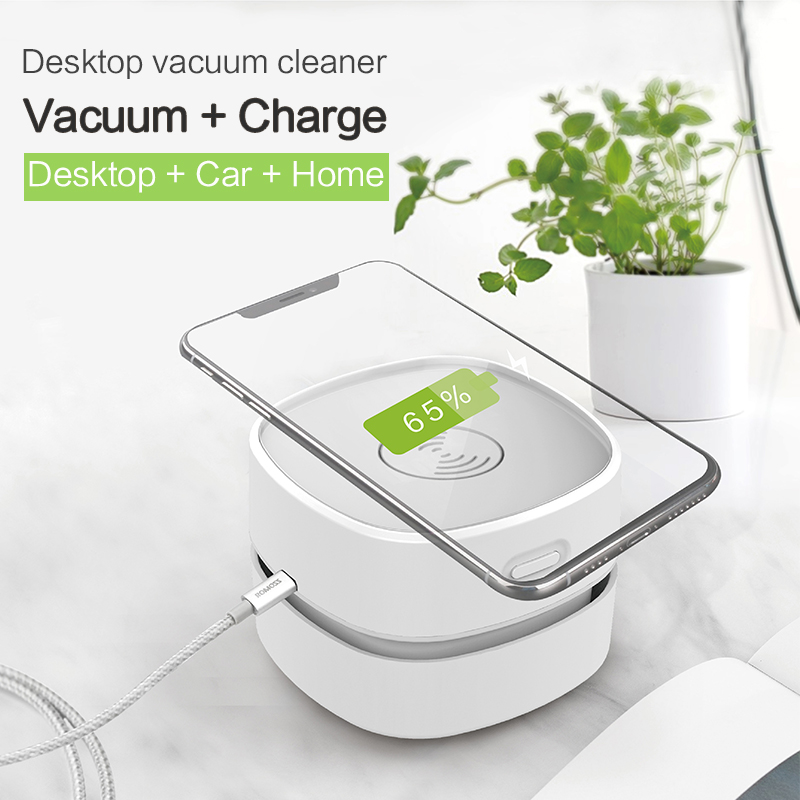 DOODA household Wireless charging portable mini Desktop Vacuum Desk Cleaner with Wireless Charger gift