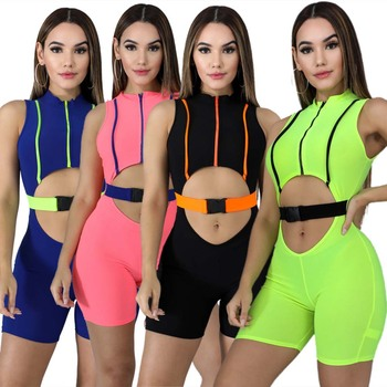 low price short tight spandex sport jumpsuit and romper