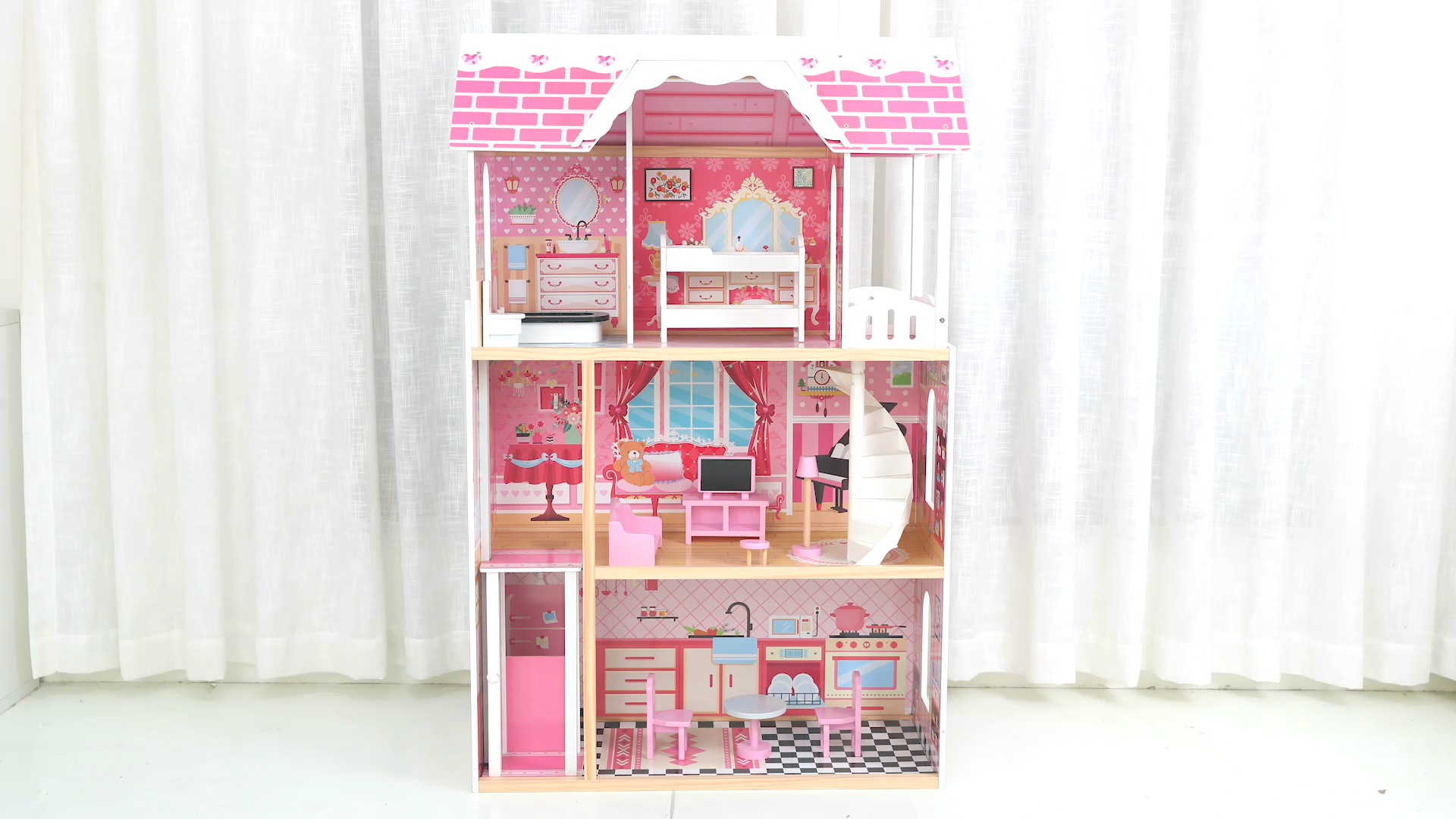 New design wooden doll house toys role pretend playing girl pink wooden dollhouse toy for kids