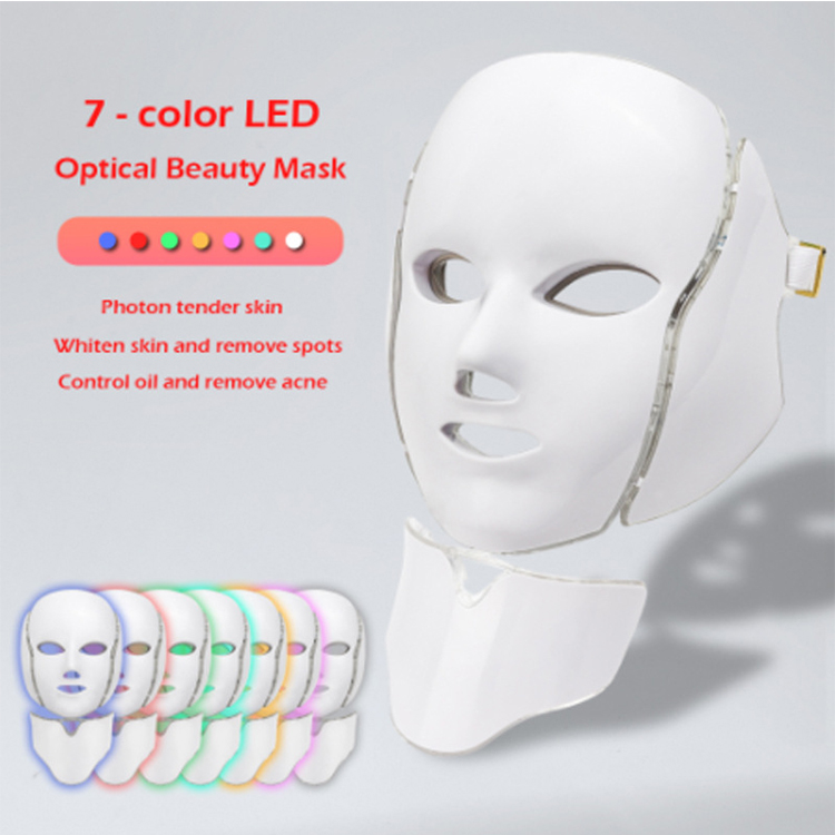 Lulu Youth 2020, Skin Care Beauty 7 color with Neck LED Photon PDT Machine Light Therapy Facial Light Up LED Face Mask/