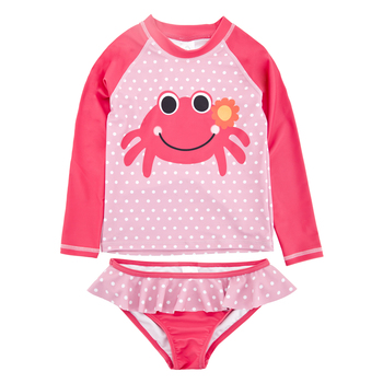 Wholesale Kid Girls Swimwear Tankinis Summer Beach Suit Long Sleeve Sunscreen Kids Swimsuit