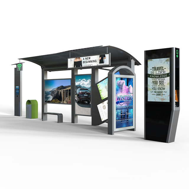 product-Outdoor Advertising Bus Shelter Design Steel Structure Bus Station-YEROO-img