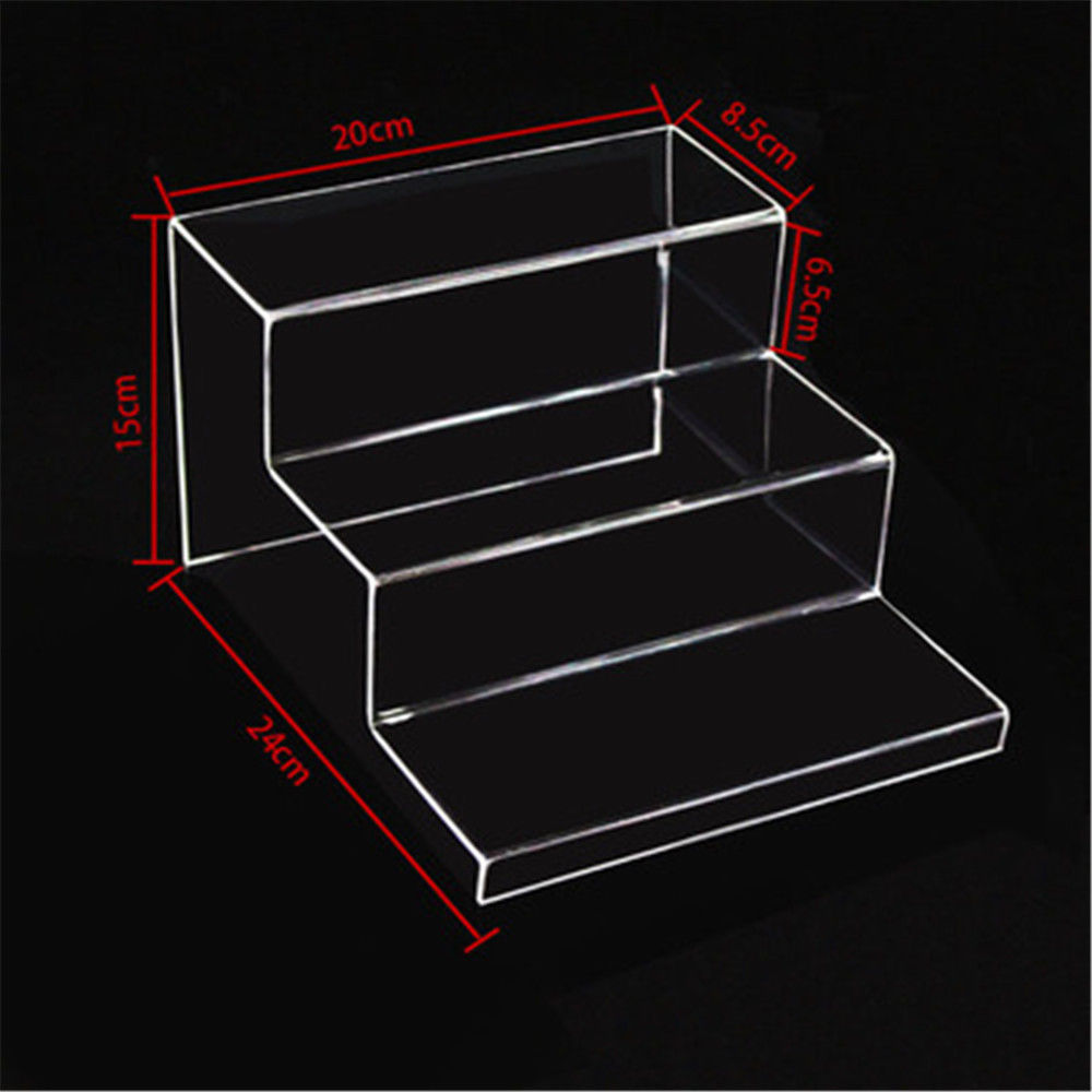 Counter Plastic 3 Stairs Step Toy Display Riser Hot Bending Clear 3 Tier Acrylic Display <strong>Stand</strong>
