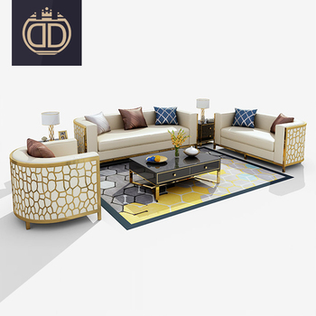leather or fabric modern simple sofa set with golden stainless steel legs gold modern stainless steel frame luxury single sofa