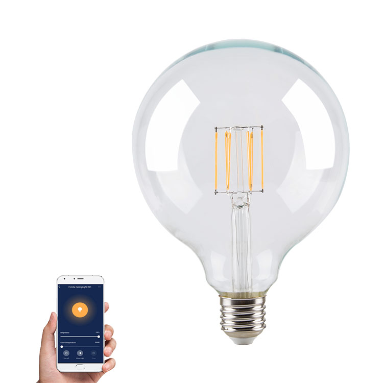 Amber Finishing LED G125 Vintage Filament Bulb E27 Base, 5.5W 6.5W 7.5W Phone Controle Dimmable G125 LED Globe Bulb