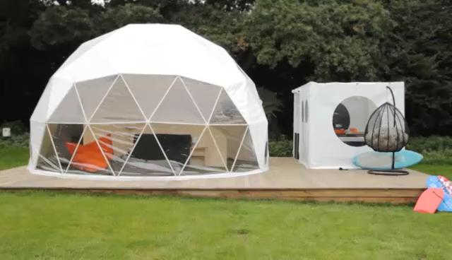 (High) 저 (quality waterproof PVC fabric 돔 텐트 luxury 측지선 돔 텐트 호텔 glamping