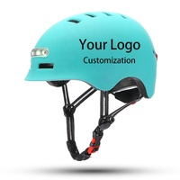 Custom Skate Scooter Bike Helmet With Signal Light Bicycle Cycle Riding