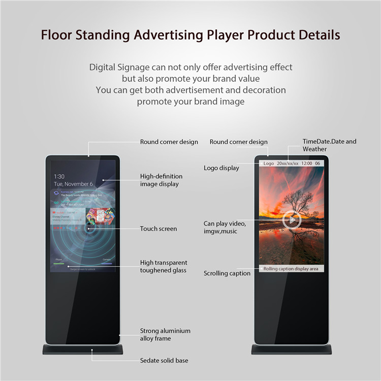 Stand Up Armadi Chiosco Portatile Verticale Display Ultra-sottile Pavimento In Piedi Scatola di Digital Signage