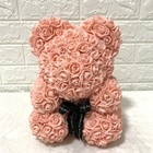 Decorative Flowers Wreaths Valentines Teddy Bear Artificial Forever Flowers Rosebear for Valentine's Day Graduation and Weddings