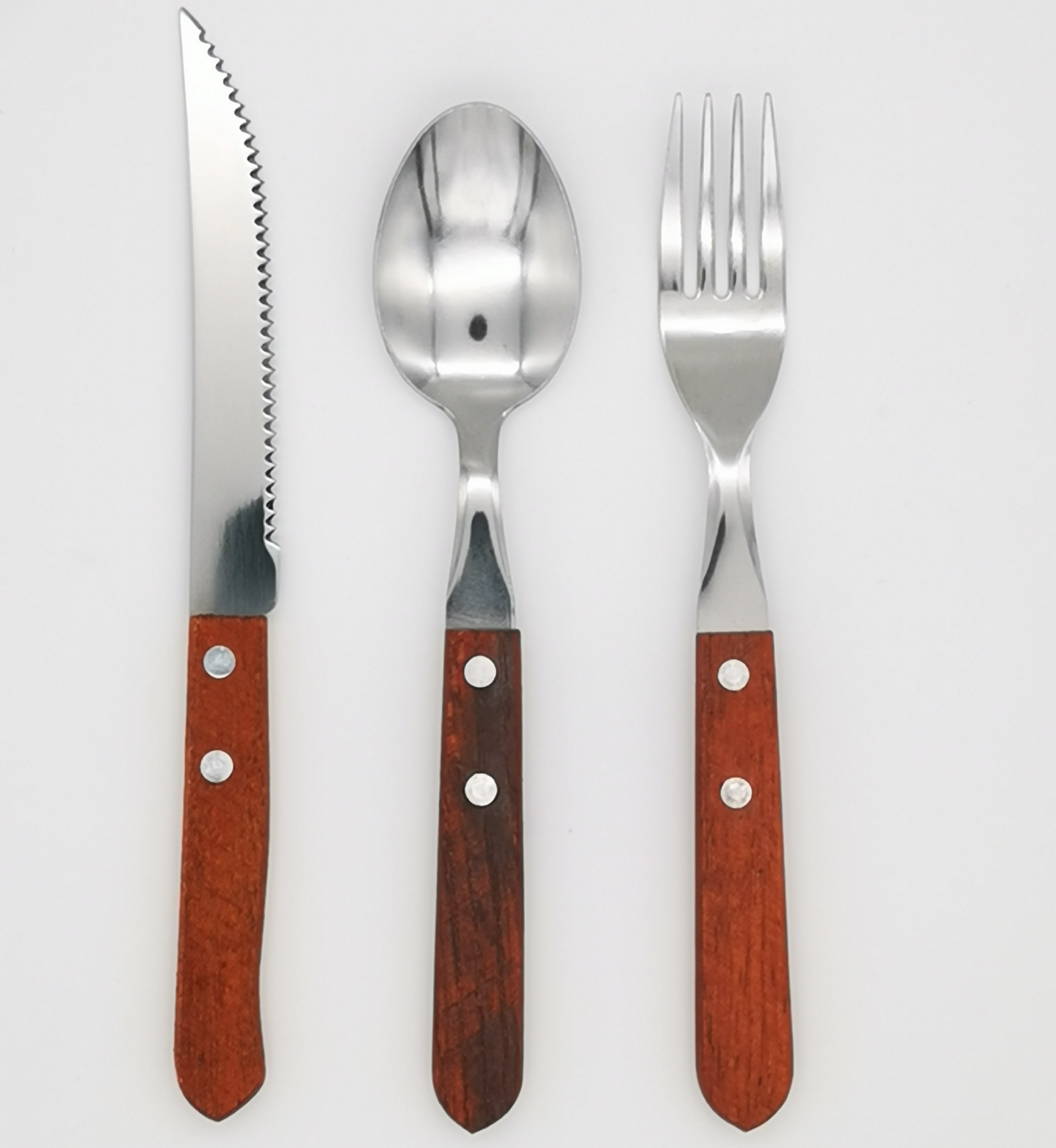 South America Most Popular Product 3pcs Wooden Handle Cutlery Set Flatware